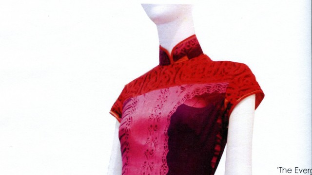 Wing Choi Chinese dress, Qipao design, printed scarf from Liberty UK